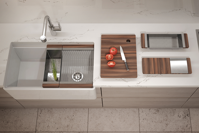 kitchen sink with cutting board, tomatoes